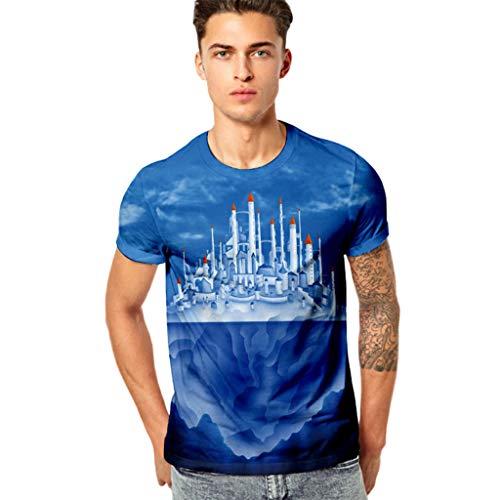 Stoota Men's Funny 3D Printing Top Blouse,Fitness Elastic Short Sleeve T-Shirt -
