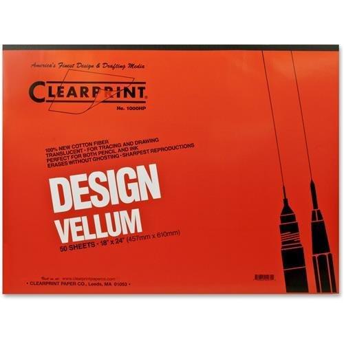 CHARTPAK/PICKETT 10001422 Design Vellum Paper, 16lb, White, 18 x 24, 50 Sheets/Pad