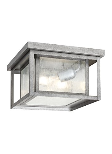 Pewter Finish Outdoor Pendants (Sea Gull Lighting 78027-57 Outdoor Flush Mount with Clear SeededGlass Shades, Weathered Pewter Finish)