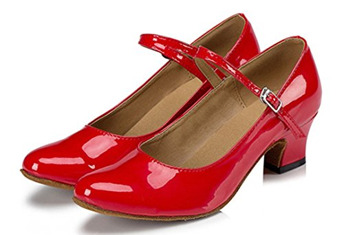 Ballroom Shoes Women's PU Mary Latin Leather Tango Red Janes Salsa TDA Heel Closed Buckle Kitten Toe Dance 7AwBq