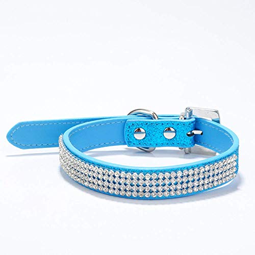 Classic Necklaces Rhinestone Buckle Dog With Dog Collar Blue (Color : 42 2.0CM, Size : -) ()
