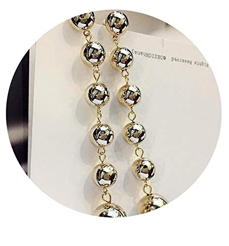 (New Metal Ball Tempeent Bright Earrings Long Paragraph Personality Iux of Women Earrings,Gold)