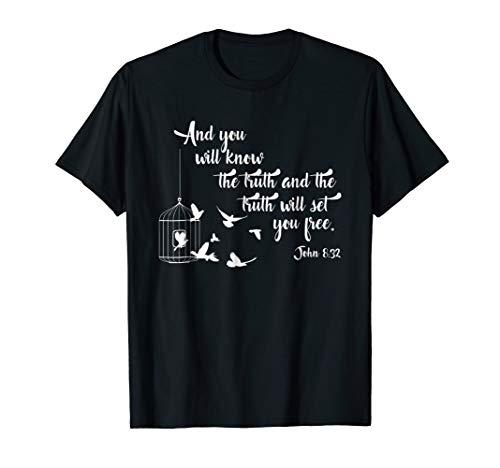 Christian Bible Shirt Bird Cage Truth Shall Set You Free Tee