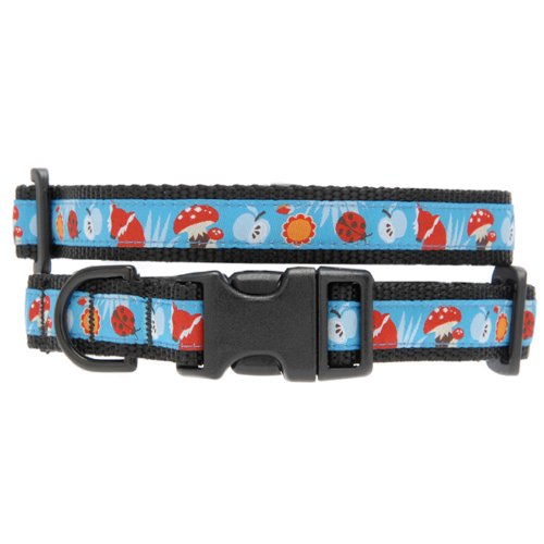 Max & Zoey Fox Dog Collar, Large, bluee