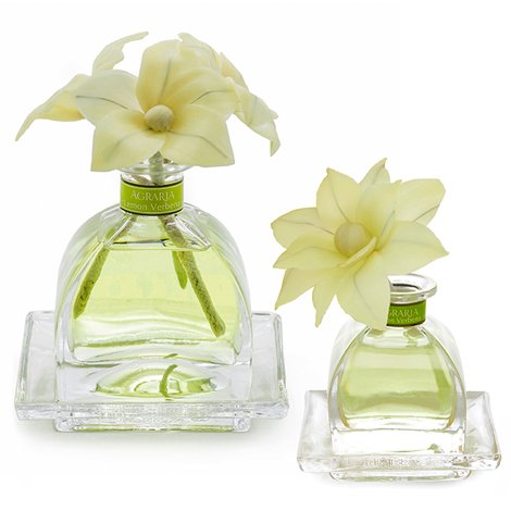 (Agraria AirEssence Luxury Diffuser Duo, set of 2 Diffusers, Lemon Verbena Scent, One 7.4oz with 3 Sola Flowers and 20 reeds, and One 1.7oz with 1 Sola Flower and 7 Reeds)