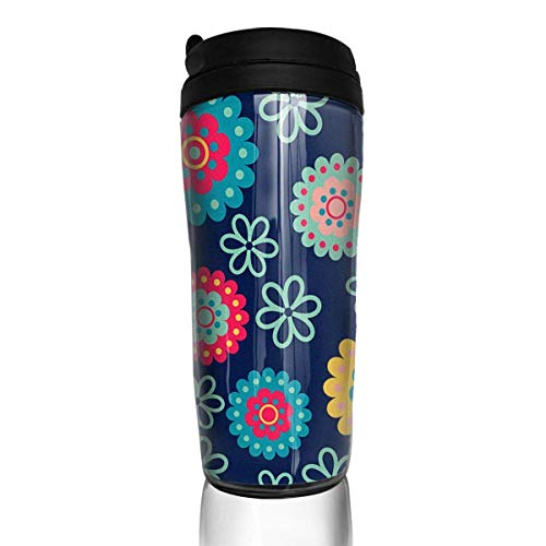 Maliin Color Flower Blue Woman's Girl Food Grade ABS Travel Mugs Coffee Thermal Tumbler Cups