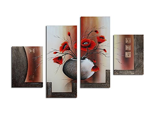 Noah Art Modern Paintings of Flower, Orange Red Tulips in a Vase 100% Hand Painted Floral Oil Paintings On Canvas, 4 Panel Framed Flowers Wall Art for Dinning Room Living Room Wall Decoration