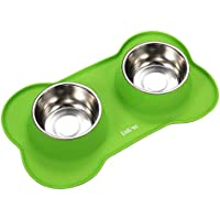ColPet Pet Bowls Stainless Steel Large Dog Bowl with No Spill Non-Skid Silicone Mat 48 oz