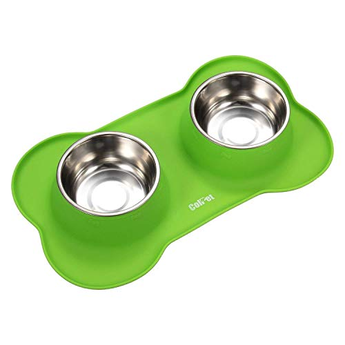 ColPet Pet Bowls Stainless Steel Dog Bowl with No Spill Non-Skid Silicone Mat 48 oz, Large