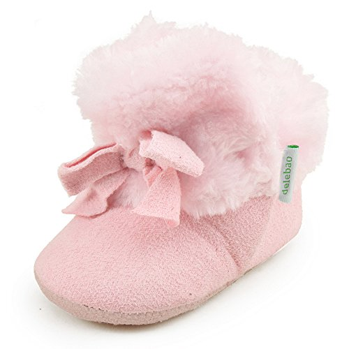 Delebao Baby Classic Soft Sole Winter Warm Snow Boots Prewalker Crib Shoes (12-24 Months, Pink 3)