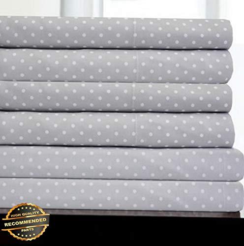 Gatton New Premium 6 Piece Dot Print Bedroom Sheet Set 1500 Thread Count Egyptian Comfort   LINENIENHM-182012212 California King ()