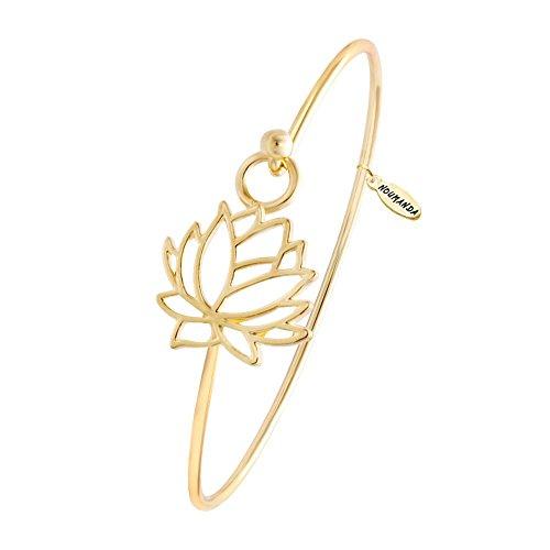 NOUMANDA Summer Style Pretty Lotus Flower Easy Open Hook Bracelet Bangle