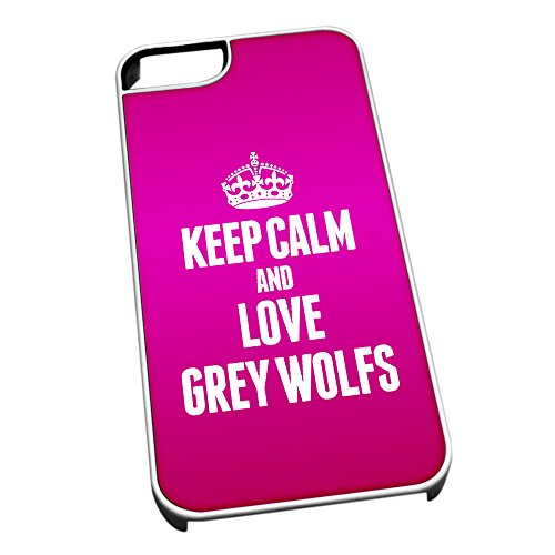Bianco cover per iPhone 5/5S 2433 Pink Keep Calm and Love Grey Wolfs