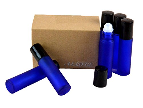 Allove Set of 6 Aromatherapy Glass Roll-on Bottles, 10ml (1/3oz) Frosted Cobalt Glass (Frosted Cobalt Blue)