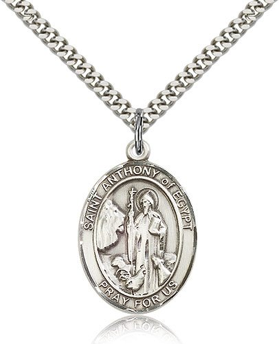 Anthony of Egypt Pendant Sterling Silver St 24 Chain