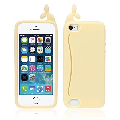 Price comparison product image iPhone 5S Case,GBSELL Cute Big Mouth Whale Rubber Card Holder Soft Case Cover For iPhone 5 5S (Yellow)