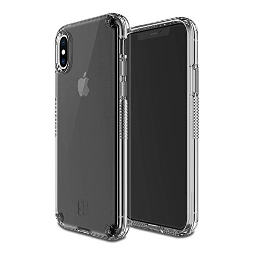 2018 PATCHWORKS [Level Vision] Military Grade Certified Dual Layer Protection Impact Resistant Wireless Charging Compatible Case for iPhone Xs Max, Clear
