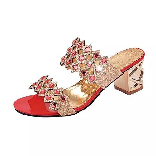 Mujer Zapatillas Lujo De De Mujer Coreano Sandalias De De Imitación GUANG 35 Medio Zapatos XING Diamantes Diamante Red Nuevo 38 Recorte De De Tacón Mujer Red Verano Zapatillas zqHwBwUE