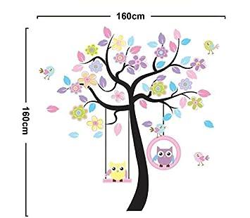 Wandtattoo Eule Baum Kinderzimmer Wandsticker DIY Deko Wandaufkleber  Sticker Owl
