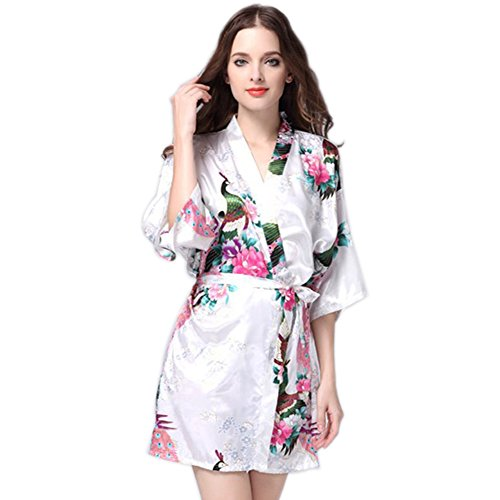 Silk Drawstring Robe (Kimwason Short Kimono Robes with Peacock Silk Pattern Nightwear for Women (White, L))