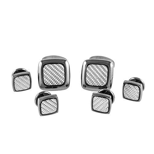 Fiber Cufflinks Cufflinks Carbon (MRCUFF Square Gunmetal Carbon Fiber Grey Set Tuxedo Cufflinks & Studs in Presentation Gift Box & Polishing Cloth)