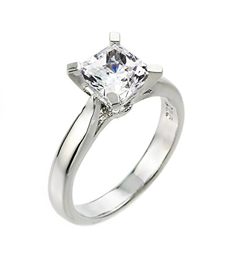 High Polish 925 Sterling Silver Princess-Cut Four-Prong Solitaire 3 Carat CZ Engagement Ring (Size (Princess Cut Four Prong)