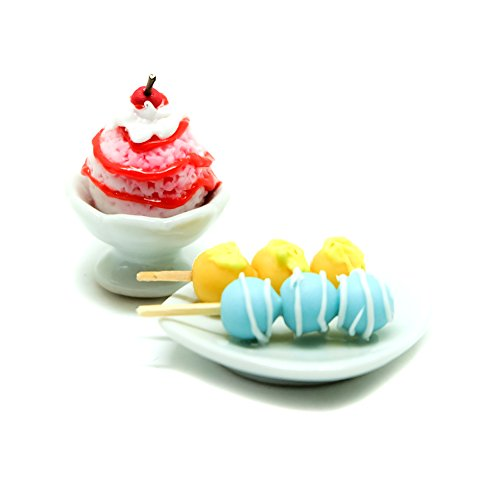A Little Tiny World – Dollhouse miniature Food, Tiny Food Collectibles – 1x icecream and 1x donut sticks Set of 2 Pcs