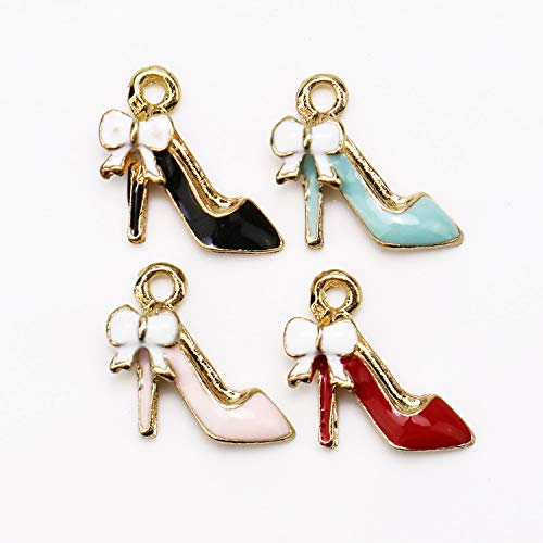 JETEHO 40 Pcs Fashion Alloy High-Heeled Shoes Shape Charms Pendant for Women Jewelry Necklace Making Pendants