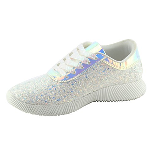 Womens Wedge Platform Fashion Sneaker Glitter Metallic Lace Up Sparkle Slip On Street Casual Running Shoes White 8