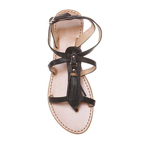 Plate Sandale Noir orné en Frange Simili Modeuse La Daim d'une gRqzpnzx