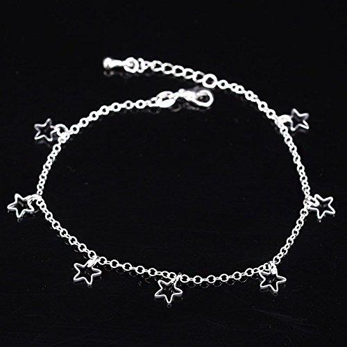 (Boho Anklets, Haluoo Silver Star Anklet Bracelet Charm Layered Anklets Dainty Foot Jewelry Summer Barefoot Beach Anklet for Women and Teen Girls (Silver))