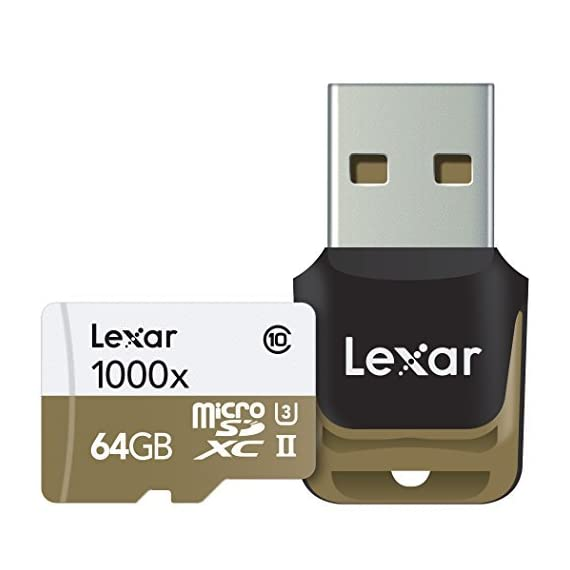 Lexar Professional 1000x 64GB microSDXC UHS-II Card (LSDMI64GCBNA1000A) 1 High-speed performance-leverages UHS-II technology (U3) for a read transfer Speed up to 150MB/s (1000x) Premium memory solution for sports camcorders, tablets, and smartphones Designed for high-speed capture of high-quality images and extended lengths of 1080P full-HD, 3D, and 4K video