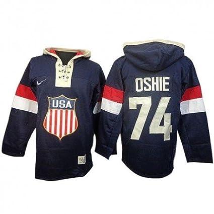half off b08c6 0da7a Amazon.com: Nike Team USA 74 T. J. Oshie Navy Blue Olympic ...
