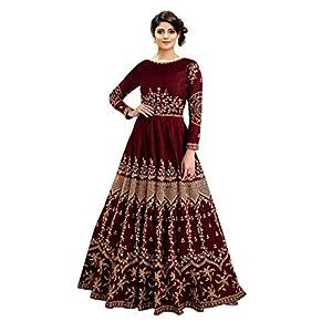 Fast Fashion Women's Silk Semi-Stitched Anarkali Floor Length Gown