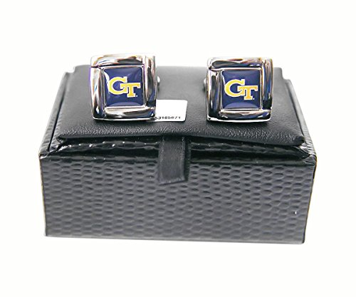 NCAA Georgia Tech Yellow Jackets Square Cufflinks with Square Shape Logo Design Gift Box Set Tech Logo Square