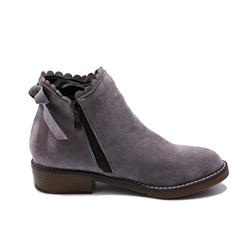 Zipper Women QZUnique Flat Heel Tube Martin Gray Shoes Booties Ankle Boots with Bowknot Side Low Lace AUUwq8nf