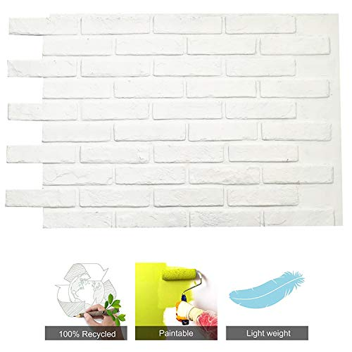 Brick Wall Panels Stone Tile, FRP Material for House Extrior and Interior Wall Use, 36 Square Feet/box (Matt White, Paris Brick)