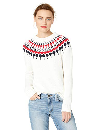 J.Crew Mercantile Women's Fair Isle Crewneck Sweater, Ivory/red Navy, XXS ()