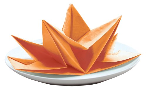 Party Partners Design Fancy Pre-Folded Paper Party Napkins, Orange, 12 Count (Dinner Napkin Folds)