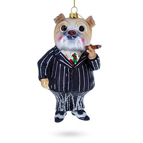 BestPysanky Bulldog in Suit Smoking Cigar Blown Glass Christmas Ornament