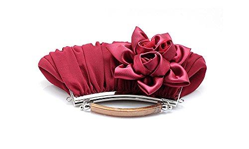 Y Cruz La La De Y De Seda Floral El Con Para Partido La Hombro Lantra Cadena Noche Boda La De Mujer Pequeño Bolsa Del Cuerpo Besa Vino Manija Bolsa De Rojo Cw0009 Embrague Púrpura qTpTZ