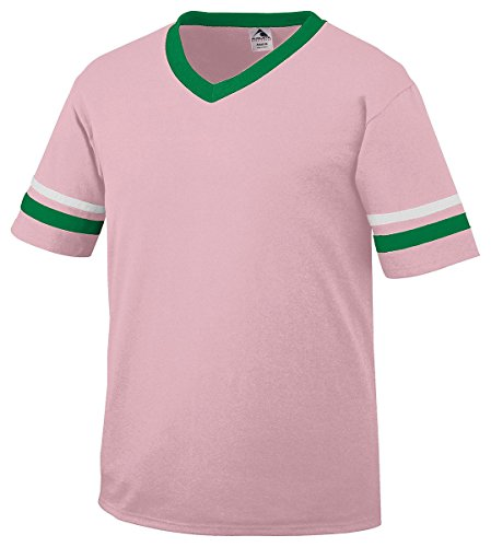 Augusta Striped Sleeve Jersey, Light Pink/ Kelly/ White, X-Large