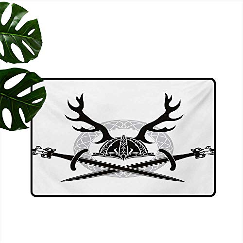 """Price comparison product image Household Decorative Floor mat, Hat with Deer Antlers Viking Culture Celtic Circle Medieval Barbarian Theme 24""""x36"""", Can be Used for Floor Decoration"""