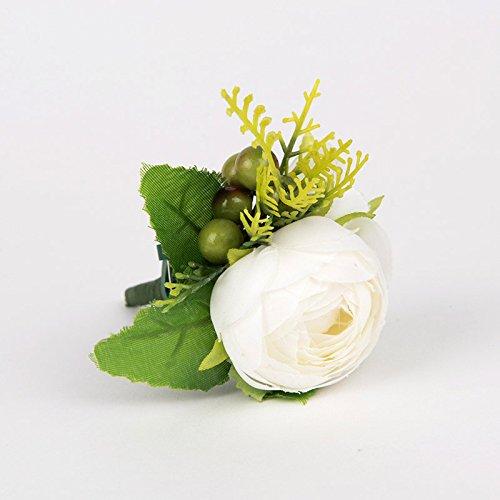 Yokoke人工多肉植物ブートニアブーケコサージュリストレットヴィンテージシルクFakeホワイト花グリーンベリー植物の花婿花嫁ウェディングの装飾2個 B07BLTSX4G