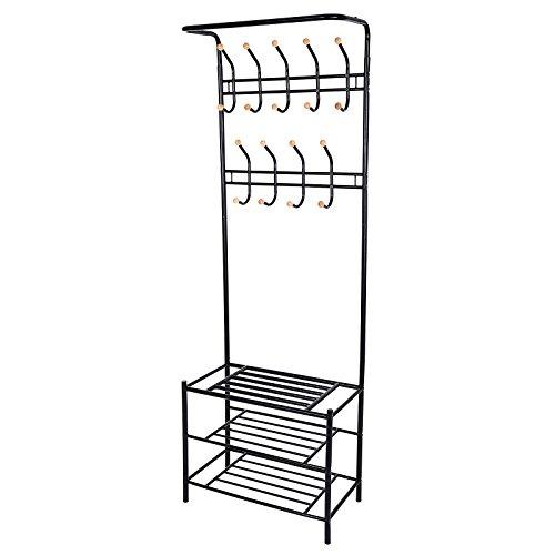 Songmics Höhe 187 cm Garderobenständer Kleiderständer Garderobe mit 3 schuhablagen mit 18 haken aus metall schwarz HSR04B