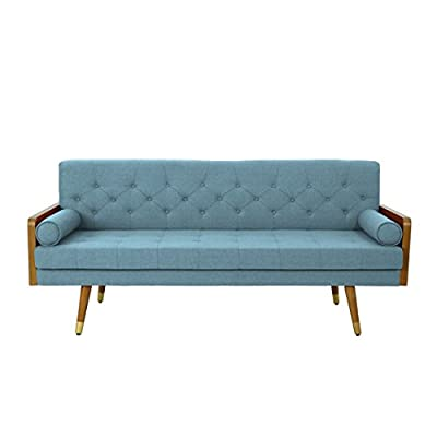 Christopher Knight Home Aidan Mid Century Modern Tufted Fabric Sofa, Blue - This mid Century modern sofa is a wonderful addition to any room in your home. Featuring wood sides and rounded legs for a true Mid Century feel. This sofa has extra plush cushioning and a button Tufted Seat and Back. With both style and comfort, you can't go wrong with this sofa. Includes: one (1) sofa Material: fabric - sofas-couches, living-room-furniture, living-room - 41OpU725jOL. SS400  -