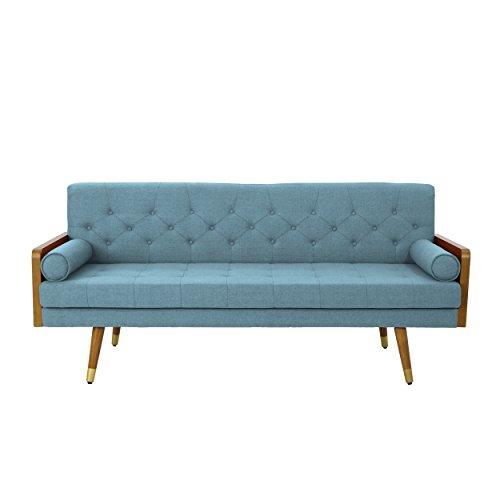Christopher Knight Home 305141 Aidan Mid Century Modern Tufted Fabric Sofa, Blue,