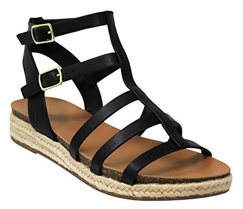 MVE Shoes Womens Stylish Comfortable Srappy Espadrille Adjustable Strap Sandal, Black Pu 7