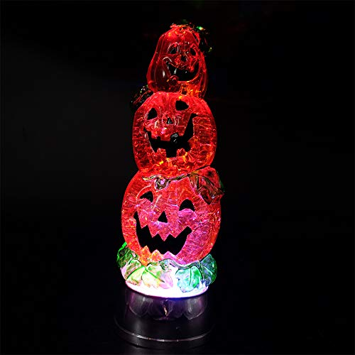 DRomance Color Changing LED Pumpkin Light Battery Operated with 6 Hour Timer, 3-Tiers Lighted Water Lamp Swirling Glittering Jack O Lantern Halloween Decoration(3.7 x 11 -