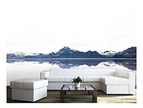 Large Wall Mural Landscape of Snow Covered Mountains and Peaceful Lake Vinyl Wallpaper Removable Wall Decor